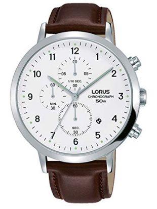 Lorus Mens Chronograph Quartz Watch with Leather Strap RM317EX8