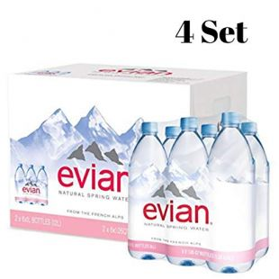 evian Natural Spring Water, 1 Liter (Pack of 24)