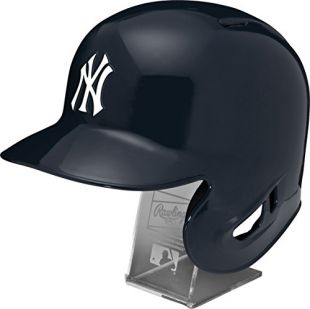 Rawlings MLB New York Yankees Replica Batting Helmet with Engraved Stand, Official Size, Blue