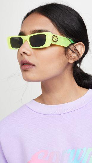 Fluo Narrow Acetate Rectangular Sunglasses