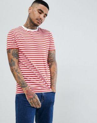 ASOS DESIGN - T-shirt à rayures - Rouge et blanc   ASOS