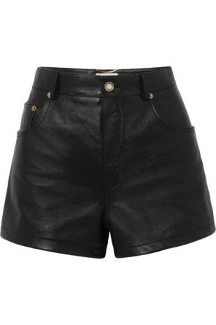 Embellished Leather Shorts