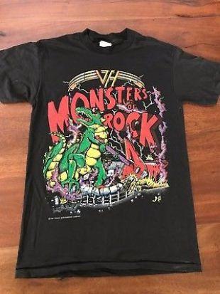 VINTAGE Van Halen Monsters of Rock 1988 Black Concert T-Shirt OU812, Size M  | eBay