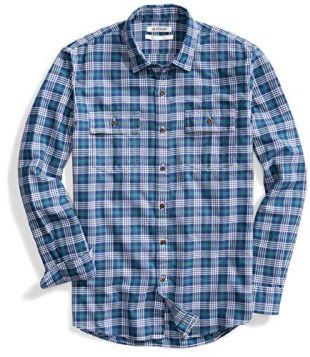 Amazon Brand - Goodthreads Men's Standard-Fit Long-Sleeve Plaid Twill Shirt, Blue Depths, Medium
