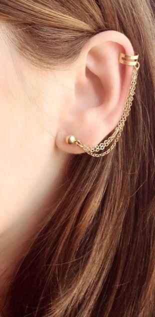 Or d'oreille, Boho brassard, chaîne d'oreille, minimaliste d'oreille, or oreille grimpeur, manchette Bohème, moderne or boucle d'oreille, une boucle d'oreille