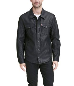 Levi's Men's Smooth Lamb Touch Faux Leather Shirt Jacket, New Black, Large