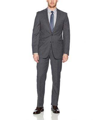 Calvin Klein Men's Slim Fit Wool Suit, Grey with White Stripes, 38 Short