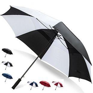 62 Inch Golf Umbrella (Black/White, 1-Pack) Sun Umbrella UV Protection Portable Beach Umbrella Parasol Umbrella UV Protection Large Umbrellas Golf Unberellas