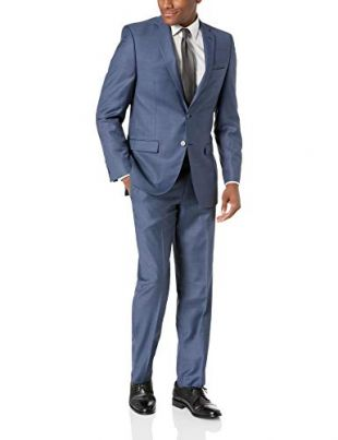 Calvin Klein Men's Stretch Slim Fit Suit, Malik Blue, 43 Regular