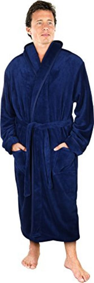 NY Threads Luxurious Men's Shawl Collar Fleece Bathrobe Spa Robe (Navy, L/XL)