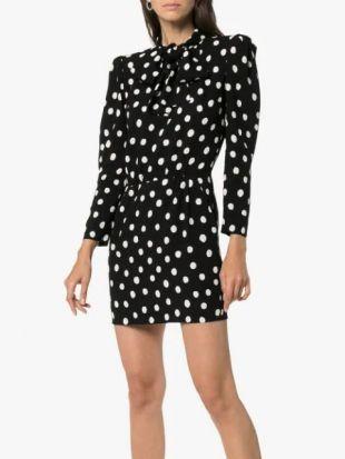 Printed Crepe Mini Dress Black
