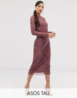ASOS DESIGN Tall - Robe fourreau mi-longue en dentelle à manches longues | ASOS
