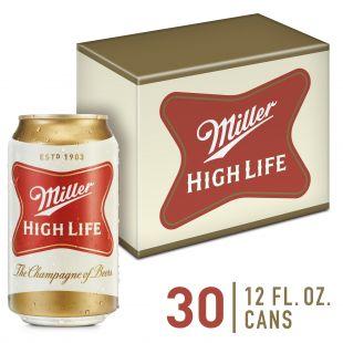 Miller High Life Lager Beer, 30 Pack, 12 fl. oz. Cans, 4.6% ABV - Walmart.com