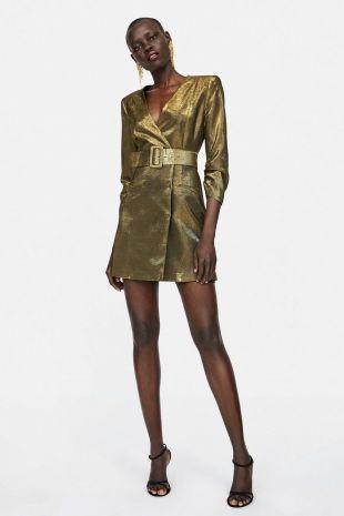Wrap Style Gold Belted Metallic Thread Blazer Dress V Neck