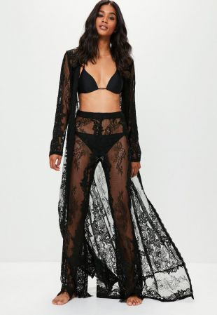 Premium Black Lace Beach Trousers