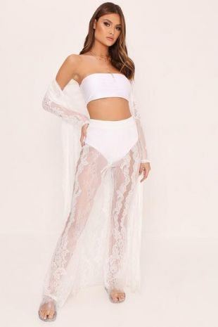 Cream Floral Lace High Waist Trousers