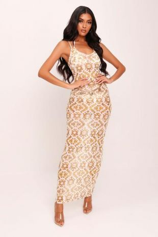 Aztec Print Mesh Maxi Dress