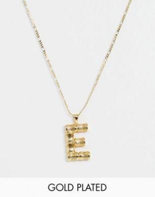 ASOS DESIGN - Collier plaqué or avec pendentif lettre « E » vintage texturé | ASOS