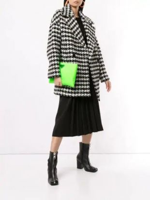 MSGM Houndstooth Pea Coat - Farfetch