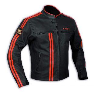 Blouson Cuir Homme Moto Protections CE Veste Doublure Thermique Orange XL