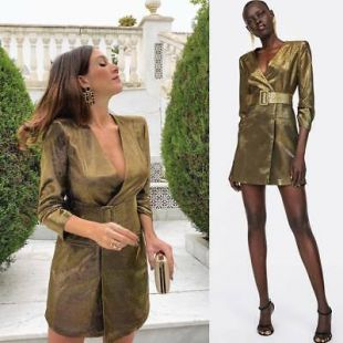 Wrap Style Gold Belted Metallic Thread Blazer Dress V Neck