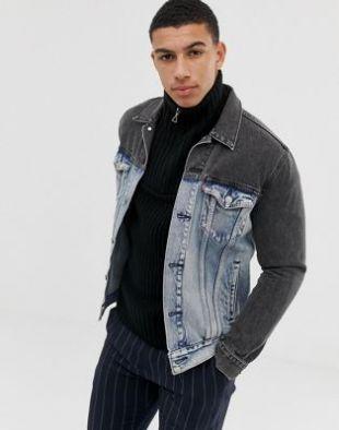 Banzi Trucker Jacket In Two-Tone Jeans In Blue