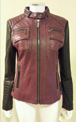 NWT MICHAEL KORS Burgundy Black Leather Colorblock Motorcycle Jacket Size M $430 | eBay