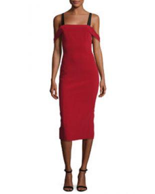 cinq a sept Nova Cold-Shoulder Sheath Dress, Rust/Black