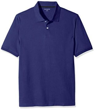Amazon Essentials Men's Regular-Fit Cotton Pique Polo Shirt, Navy, Medium