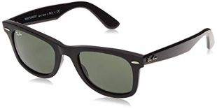 Ray-Ban RB2140 Original Wayfarer Sunglasses, Black/Crystal Green, 50 mm