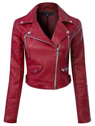 Design by Olivia Women's Long Sleeve Zipper Closure Moto Biker Faux Leather Jacket Burgundy S
