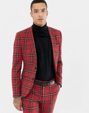 Veste de costume super slim à carreaux écossais - Rouge