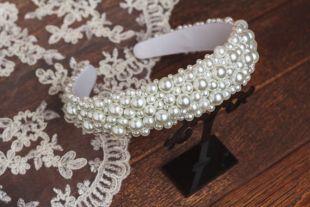 Bandeau de perles pour mariage cheveux accessoires parées large bandeau blanc diadème pour les demoiselles d'honneur printemps diadème serre-tête perles dolce Prom