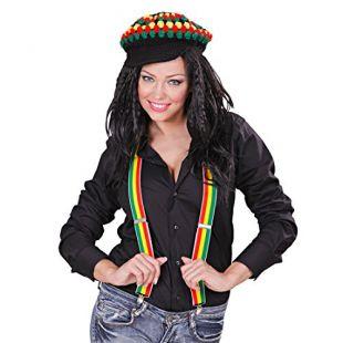 NET TOYS Bretelles Jamaïque Reggae Bretelles en Y Bretelles pour Pantalon Rasta Bretelles Jamaïcaines Bretelles Soirée À Thème Déguisement Accessoire