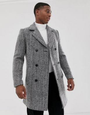 boohooMAN wool blend double breasted overcoat in grey
