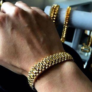 Luxe homme 18 k plaqué or en acier inoxydable lourd lien chaine Bracelet, bijoux pour hommes, Bracelets pour homme, cadeau homme, cadeau d'anniversaire