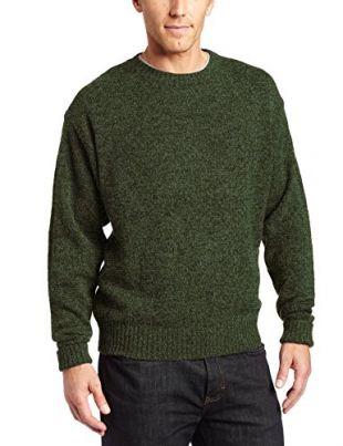 Pendleton Men's Shetland Washable Wool Crew Neck Sweater, Large (Juniper Green-61199)