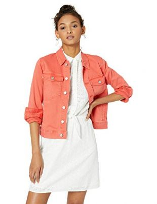 J.Crew Mercantile Women's Cropped Garment-Dyed Denim Jacket, Autumn Coral, S
