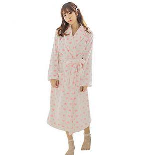 Saymequeen Women Cute Heart Print Flannel Shawl Robe Girls Bathrobe Sleepwear Warm Homewear