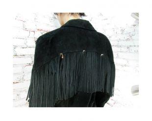 Fringe cropped leather jacket