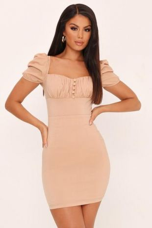 Camel Milk Maid Ruched Front Mini Dress