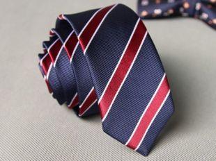 Blue Red Striped Skinny Tie - France cravate de mariage cravate maigre cravate de mariage idées de mariage idées marié (groom) polka dot tiea D