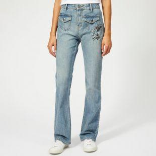 Coach 1941 Women's Embellished Denim Pants - Blue