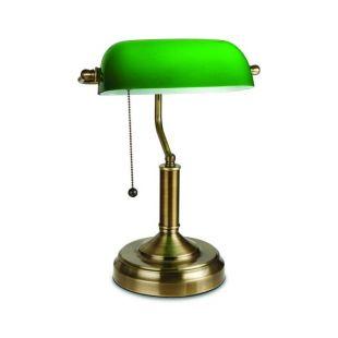 Lampe, Style Antique verre vert émeraude Bureau luminaire, Laiton satiné finition de la Banque traditionnelle, interrupteur à tirette Pull Perles métal attaché