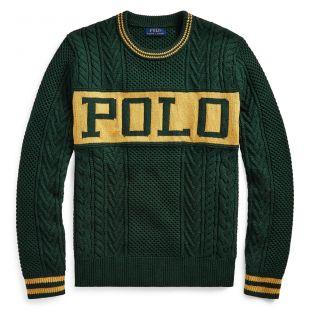 """Pull Vert et Jaune en tricot à logo """"POLO"""""""