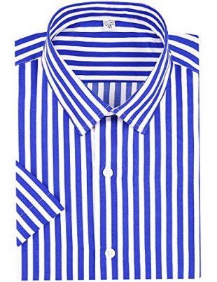 DOKKIA Men's Business Short Sleeve Vertical Striped Dress Shirts (Royal Blue White, Large)