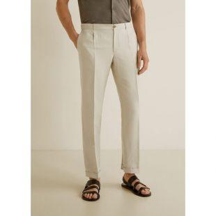 Pantalon à pinces coton lin