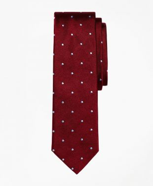 Dot Slim Tie Burgundy