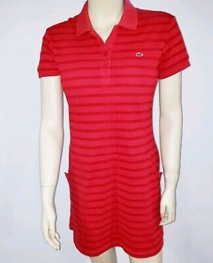 Lacoste Womens 40 Polo Shirt Dress Tennis Pockets Monogram Red Collared