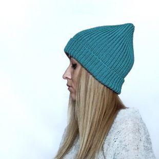 Chapeau en maille de laine mérinos turquoise pour femme, chapeau en tricot unisexe, chapeau hippie d'homme